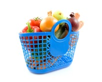 Blue plastic shopping bag with grocery
