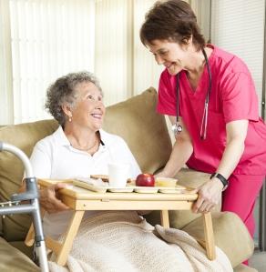 Nurse providing care to senior
