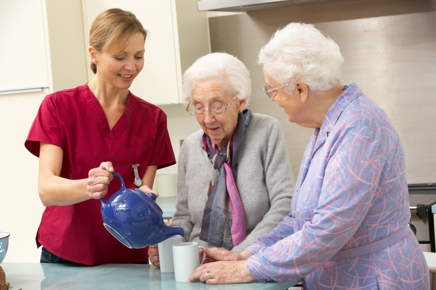 Caregiver helping a senior.