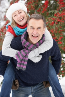 Couple in winter clothing.