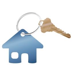 Keychain shaped like a house.