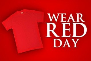 Red shirt with text Wear Red Day