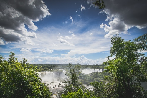 A waterfall and clouds