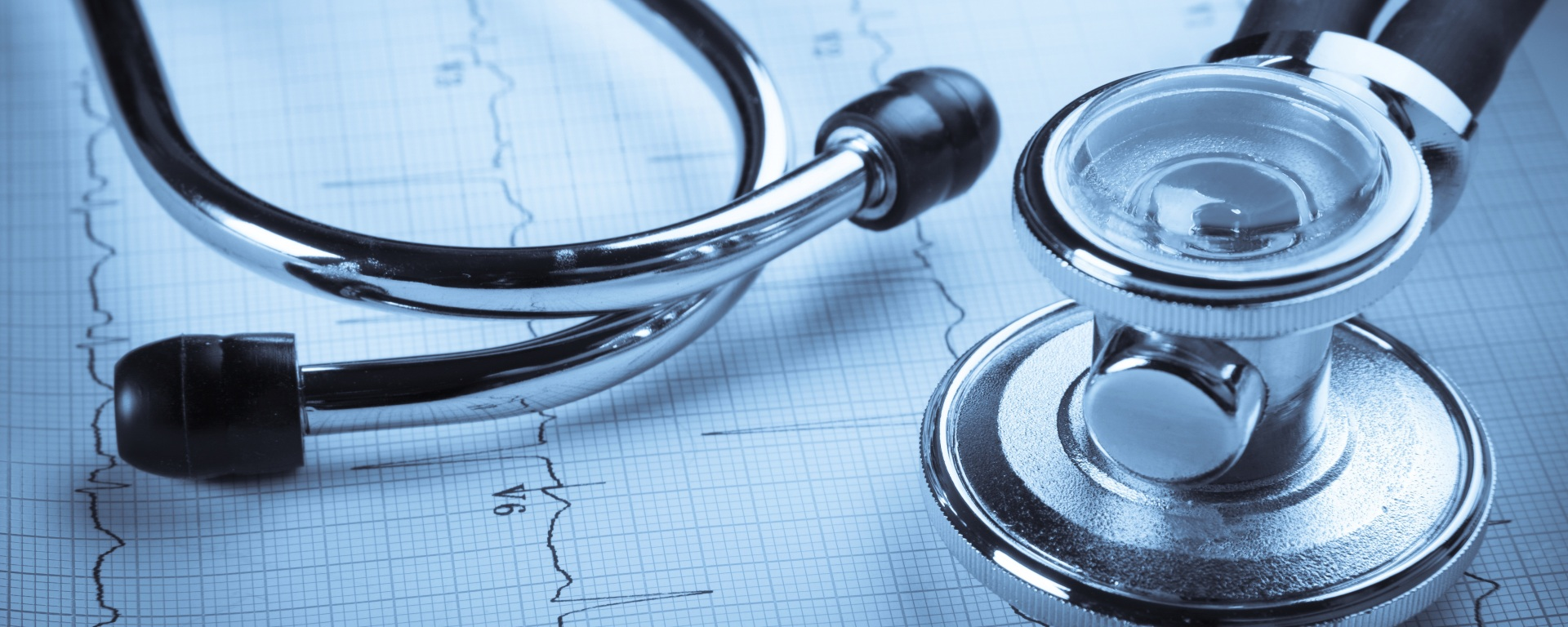 Stethoscope and EKG print out.