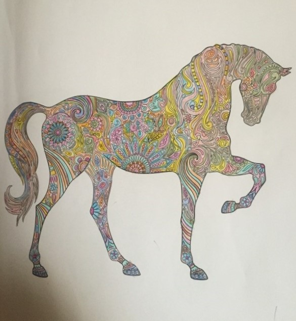 Horse in a coloring book