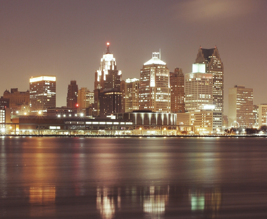 Detroit skyscrapers at night.