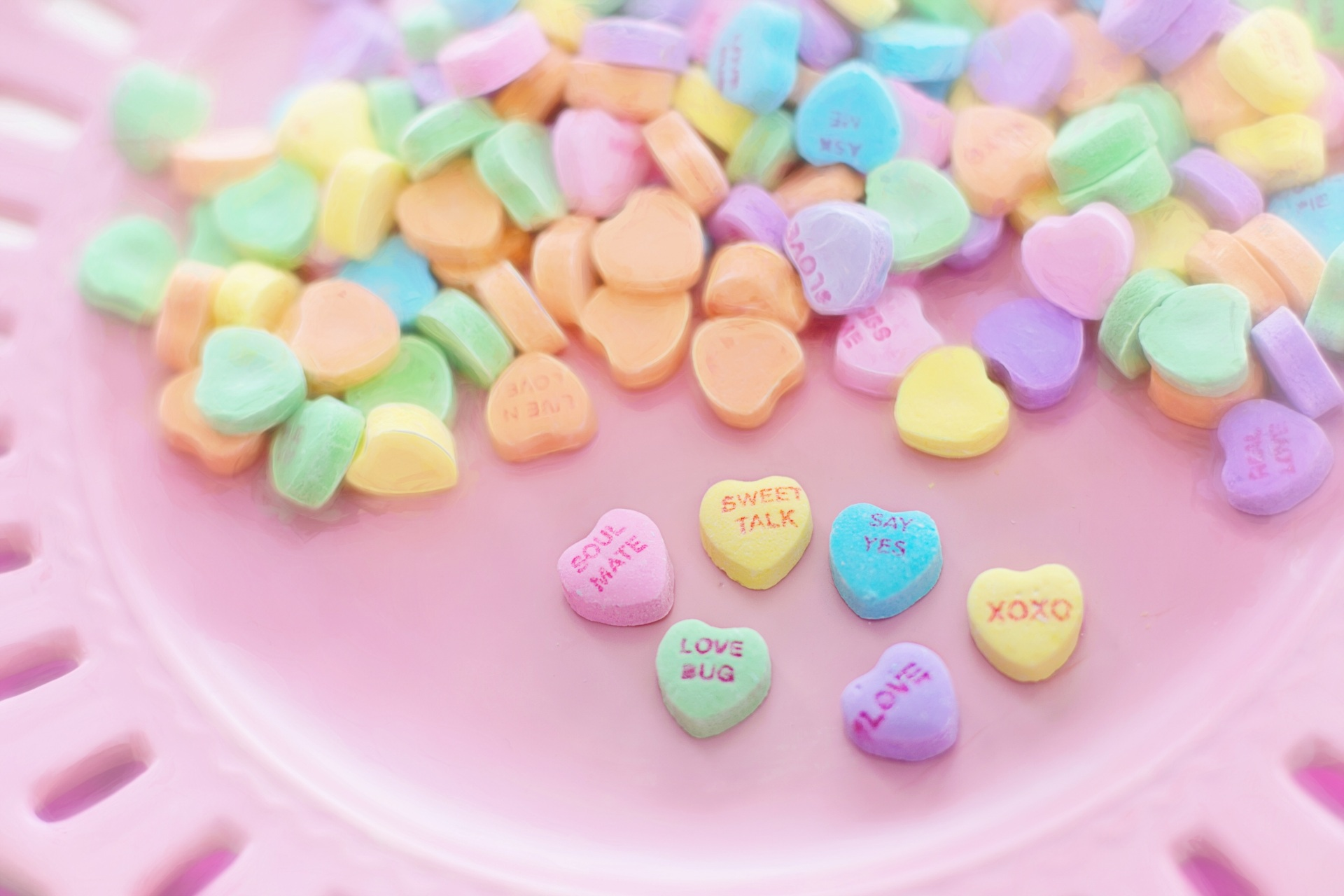 Valentine's Day candy hearts.