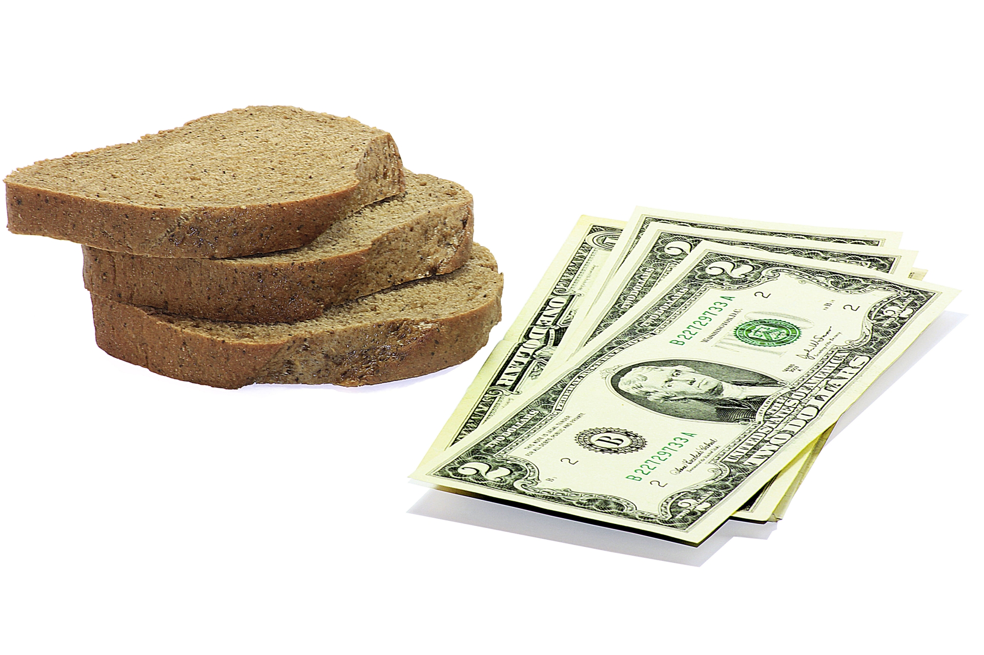 Slices of bread and $2 bills.