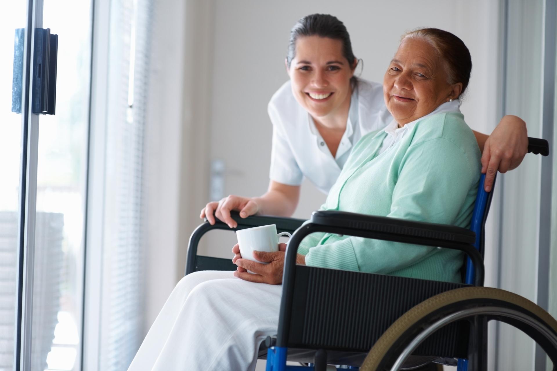 A caregiver with a senior.