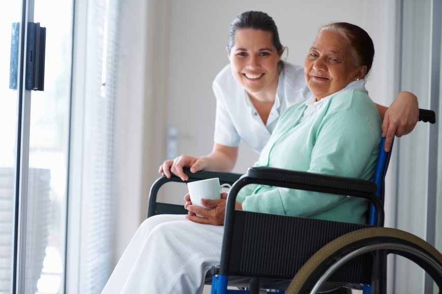 A caregiver with a senior.