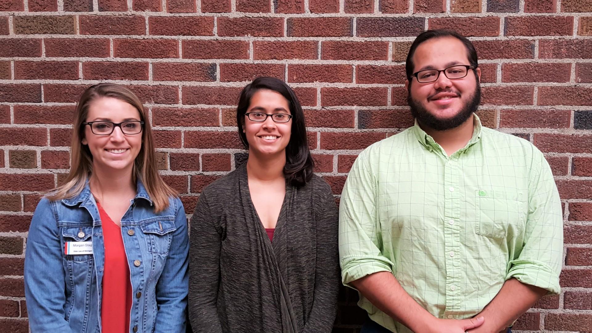 Morgan Stage, Danielle Takacs, and Heath Lowry, 2017 ELM interns.