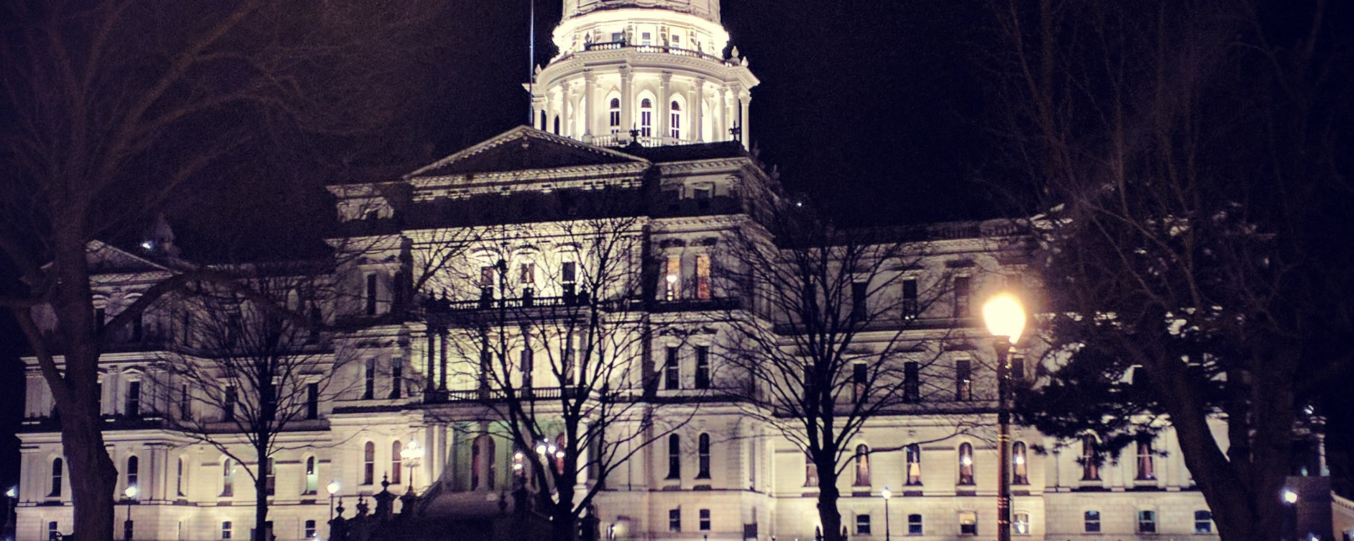 Exterior view of the Michigan Capitol Building illuminated at night.
