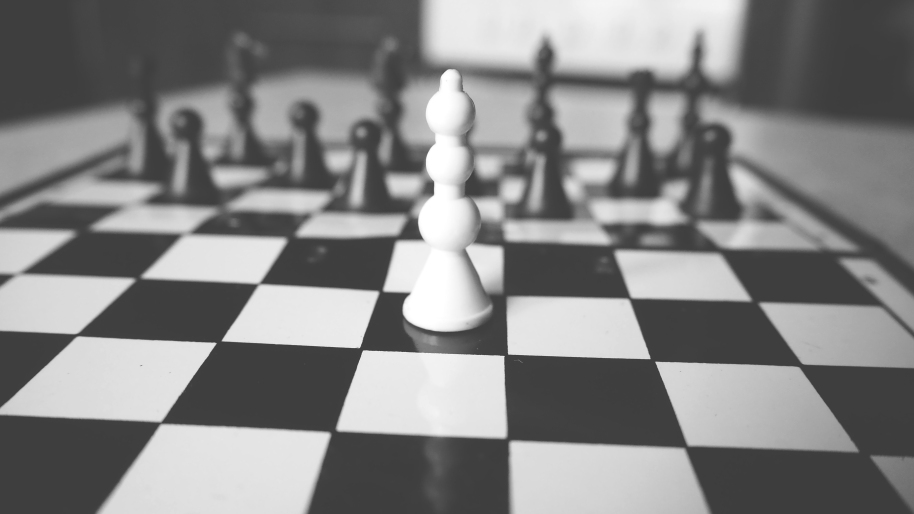 Black and white chess game.