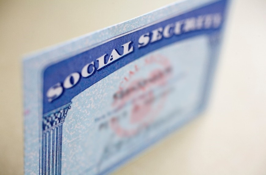 Close up view of a sample Social Security card.