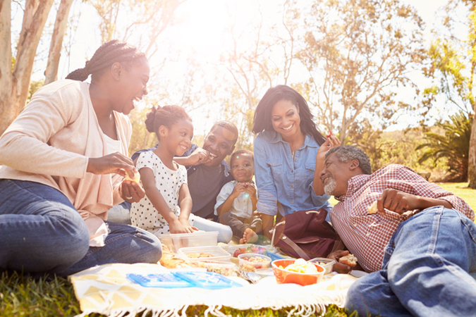 An African American family enjoys a picnic outdoors.
