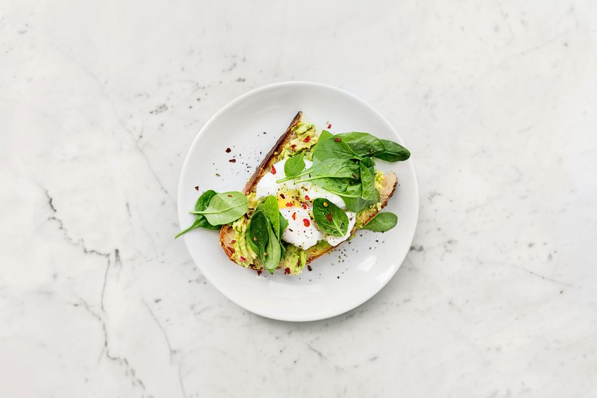 Spinach and egg whites on bread.