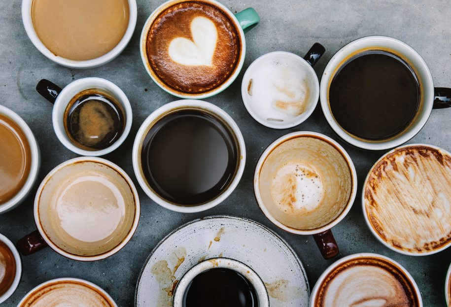 Birds-eye view of mugs of coffee.